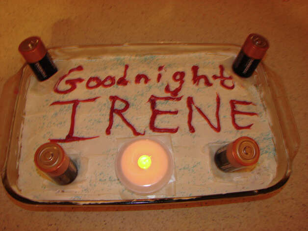 Jeannine Grimalli was excited to find batteries as she prepared for Irene, so she baked a cake. Photo: Contributed Photo