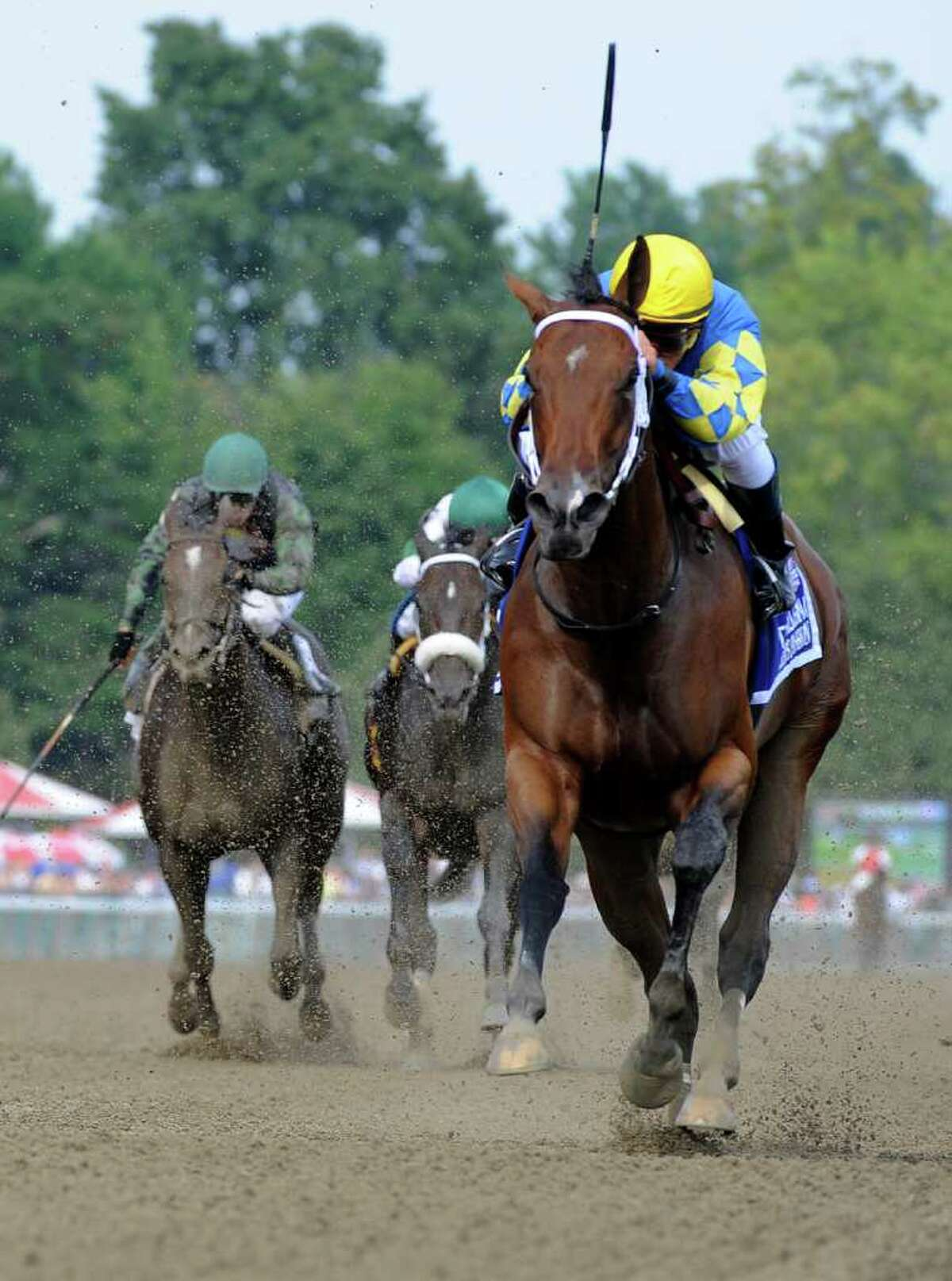 Hilda's Passion with jockey Javier Castellano wins the 33rd running of The Ballerina at the Saratoga Race Course in Saratoga springs, N.Y. Aug 27, 2011. (Skip Dickstein / Times Union)