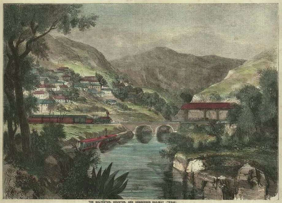 "This lithographic image shows the mountainous vision of Houston that was portrayed to the world for many years,  first in Matilda Houstoun's ""Texas and the Gulf  of Mexico"", in 1844, in which she describes a brief visit to Houston. (Mary and Mavis P. Kelsey Sr. Collection of Americana, Cushing Memorial Library & Archives,  Texas  A&M University)   Photo: Mary And Mavis P. Kelsey, Sr.  C"