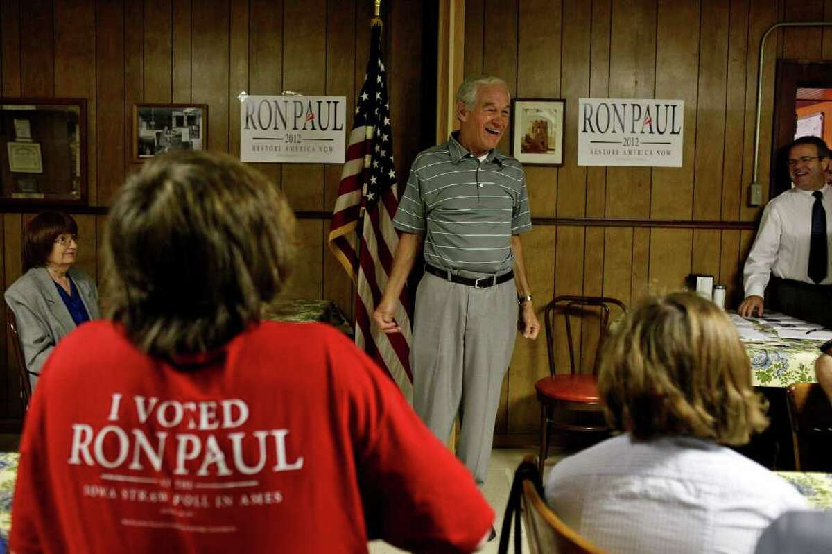 Congressman Ron Paul of Texas speaks at the Northside Cafe as he campaigns in Winterset, IA on Saturday, August 27, 2011.