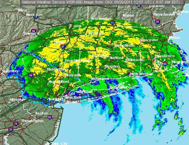 NOAA radar of Hurricane Irene passing through New York and Connecticut as of 9 a.m. on Sunday, August 28, 2011. Photo: NOAA
