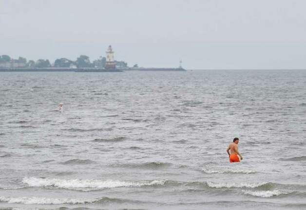 A swimmer in Long Island Sound at Greenwich Point is not deterred as Hurricane Irene approaches the Greenwich area Saturday afternoon, Aug. 27, 2011. Photo: Bob Luckey / Greenwich Time