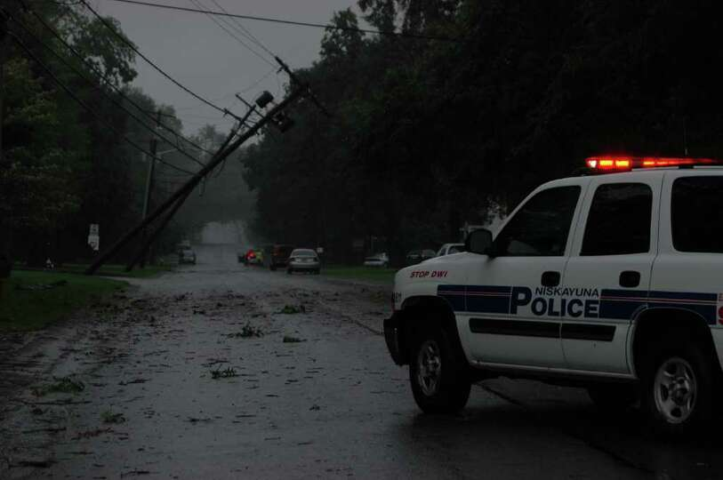 Downed power lines are shown on upper Eastern Parkway in Niskayuna on Sunday, Aug. 28, 2011. (Lori C