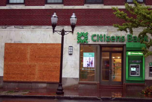 Citizens Bank on Atlantic Street in downtown Stamford was boarded up  during Hurricane Irene in Stamford, Conn., Sunday, Aug. 28, 2011. Photo: John Breunig
