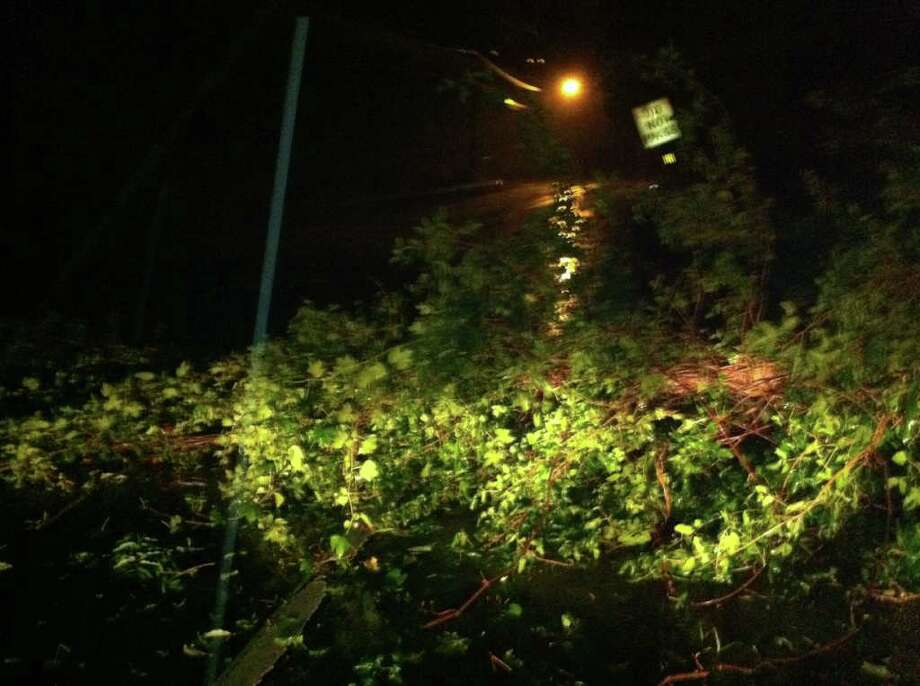 Above, Hurricane Irene took down a tree on Route 123 in New Canaan Sunday morning. Photo: Ben Holbrook