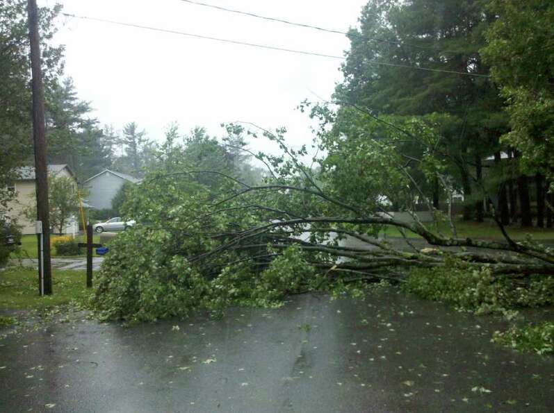 Tree down on Traber Road in Guilderland, the result of Tropical Storm Irene, on Sunday, Aug. 28, 201