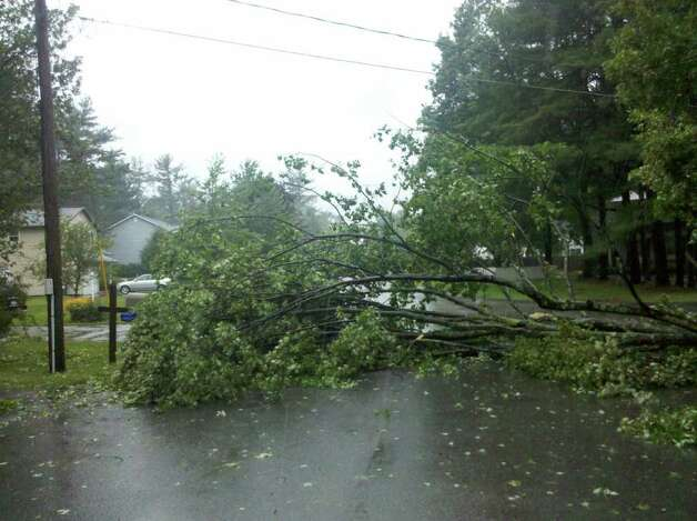 Tree down on Traber Road in Guilderland, the result of Tropical Storm Irene, on Sunday, Aug. 28, 2011. (Steve Hungsberg/Special to the Times Union)