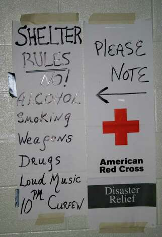 Rules posted at the Stamford High School shelter during Hurricane Irene in Stamford, Conn., Sunday, Aug. 28, 2011. Photo: John Breunig