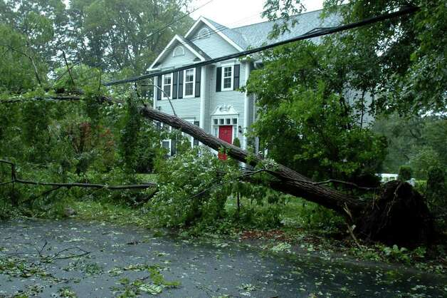 Trees have brought down power lines on Pumpkinground Rd. in Stratford, Conn. Aug. 28th, 2011. Photo: Ned Gerard