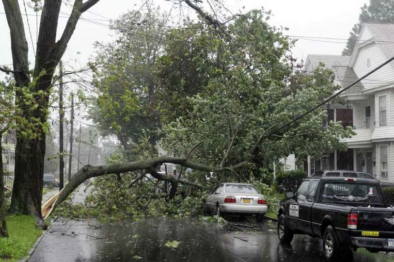 A section of a tree fell across Avenue A as Irene hit the Capital Region on Sunday, Aug. 28, 2011 in