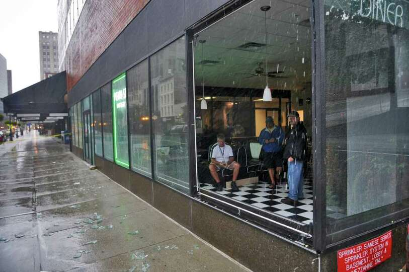 A window broke in the Pearl Street Diner during Hurricane Irene on Sunday morning Aug. 28, 2011,  in
