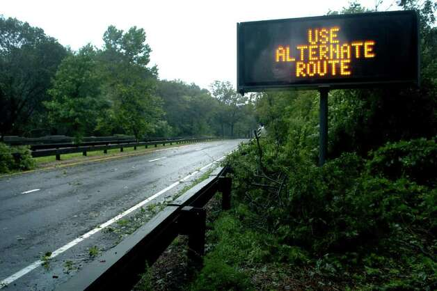 The Merritt Parkway closed to traffic in Stratford, Conn. Aug. 28th, 2011. Photo: Ned Gerard