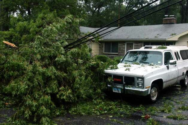 Trees have brought down power lines on Oak Ridge Rd. in Stratford, Conn. Aug. 28th, 2011. Photo: Ned Gerard