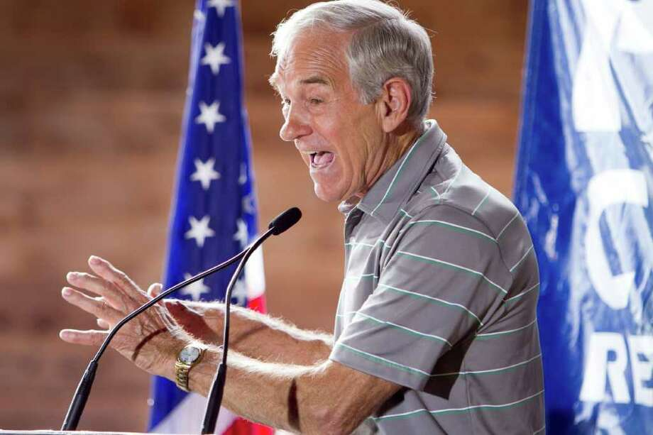 Republican presidential contender, Rep. Ron Paul, R-Texas, speaks at a restaurant at the Polk County GOP summer picnic event held at the Iowa State Fairgrounds in Des Moines, Iowa on Saturday, Aug. 27, 2011. (AP Photo/Nati Harnik) Photo: Nati Harnik, STF