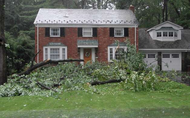 Fallen tree on Fernbank Avenue in Delmar N.Y. Sunday morning Aug. 28, 2011. Tropical Storm Irene entered the Capital Region Sunday morning, downing trees throughout the Capital Region and leaving many without power. (Will Waldron / Times Union) Photo: Will Waldron