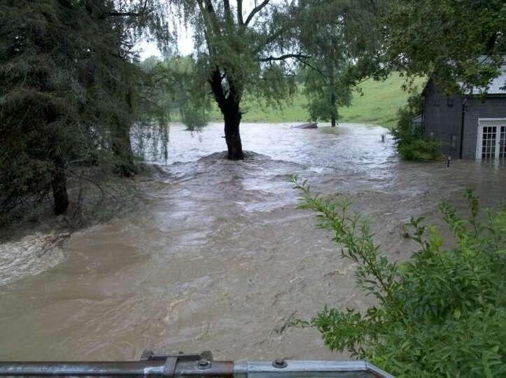 The Onesquethaw Creek is raging at Bridge Street in Bethlehem. (Jordan Carleo-Evangelist/Times Union