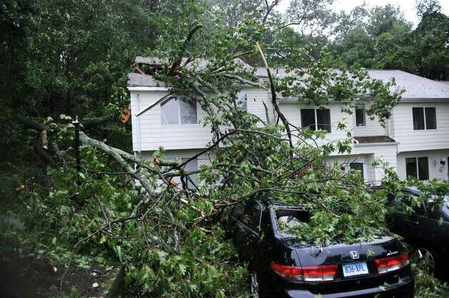 An unoccupied condo unit at Summit View in Danbury was damaged Sunday morning when a huge tree fell on top of it, crashing into the roof. Tropical Storm Irene brought heavy rains and wind to the area. Photo taken Sunday, August 28, 2011. Photo: Carol Kaliff