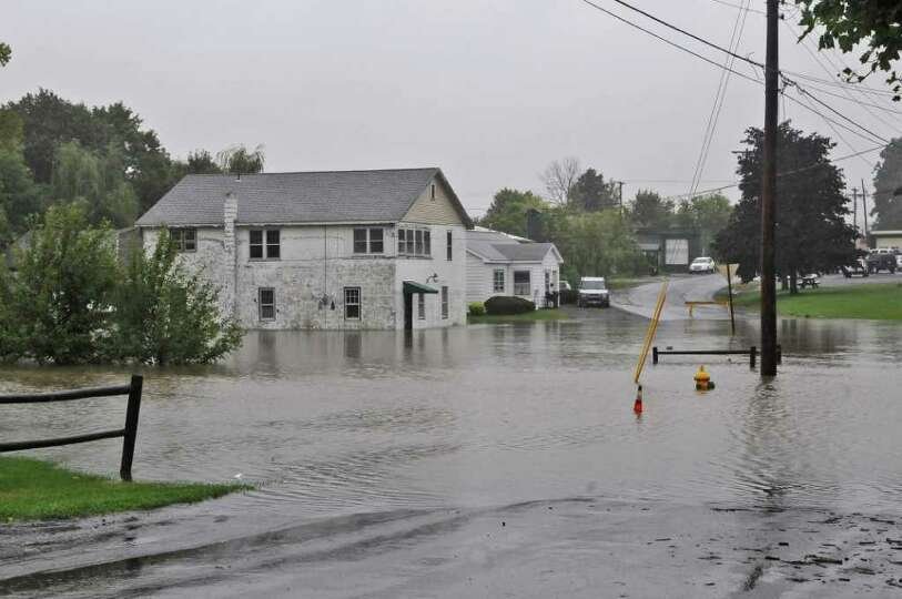 View of flooding on Russell Avenue as a result of Hurricane Irene on Sunday Aug. 28, 2011,  in Raven
