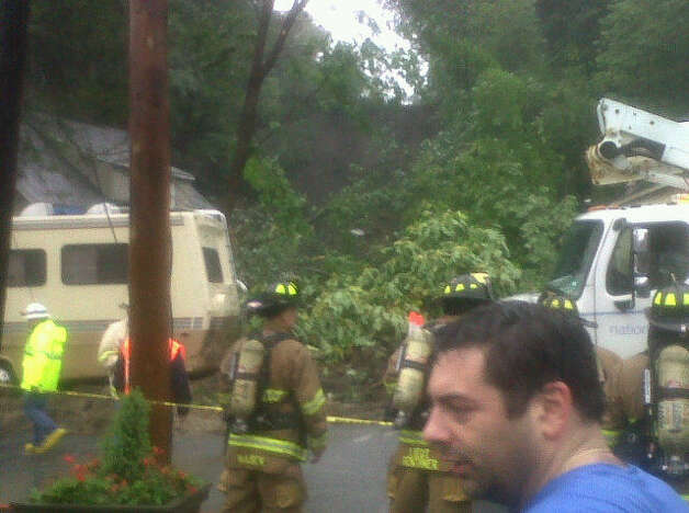 Most of a hillside collapsed at Pawling Avenue and Route 2 in Troy as a result of heavy rains from Tropical Storm Irene on Aug. 28, 2011. (Jimmy Vielkind/Times Union)