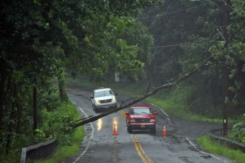 Traffic is stopped by a downed tree on Route 144 near the Hannacrois Creek as a result of Hurricane