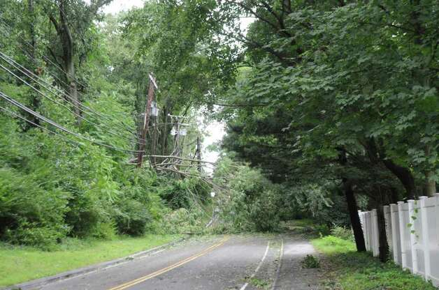 A tree fell near Sheephill Road and Palmer Street in North Mianus during Hurricane Irene on Sunday, Aug. 28. 2011. Photo: Helen Neafsey / Greenwich Time