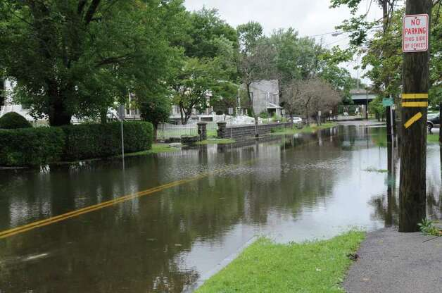 River Road in Cos Cob during Hurricane Irene on Sunday, Aug. 28. 2011. Photo: Helen Neafsey / Greenwich Time