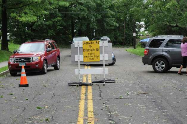 A sign on River Road in Cos Cob during Hurricane Irene on Sunday, Aug. 28. 2011. Photo: Helen Neafsey / Greenwich Time
