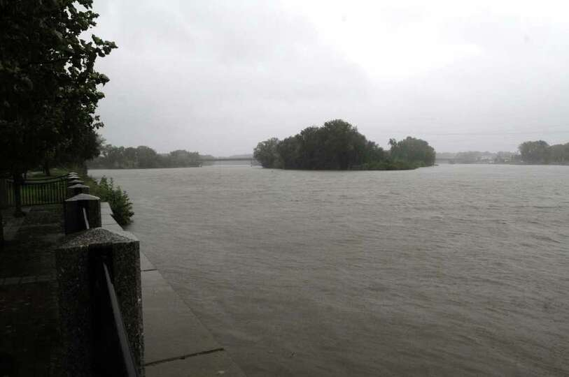 The Mohawk River rises along the Stockade area in Schenectady as Irene hit the region on Sunday, Aug