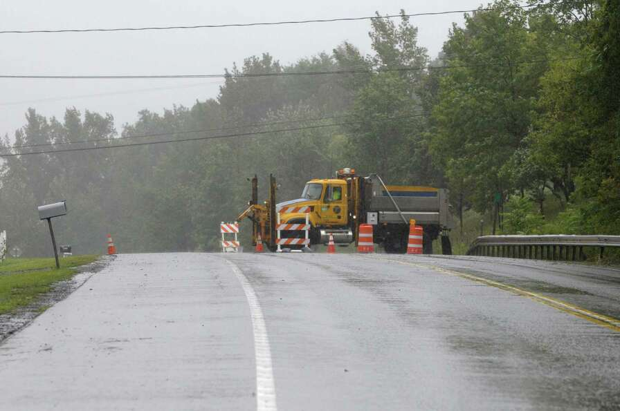 County Route 145 leading into Middleburgh is blocked off at a crest in the road as Irene hit the are