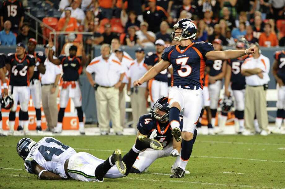 DENVER, CO - AUGUST 27: Steven Hauschka #3 of the Denver Broncos kicks the game winning field goal during the preseason game against the Seattle Seahawks at Sports Authority Field at Mile High on August 27, 2011 in Denver, Colorado. Photo: Garrett Ellwood, Getty Images / 2011 Garrett Ellwood