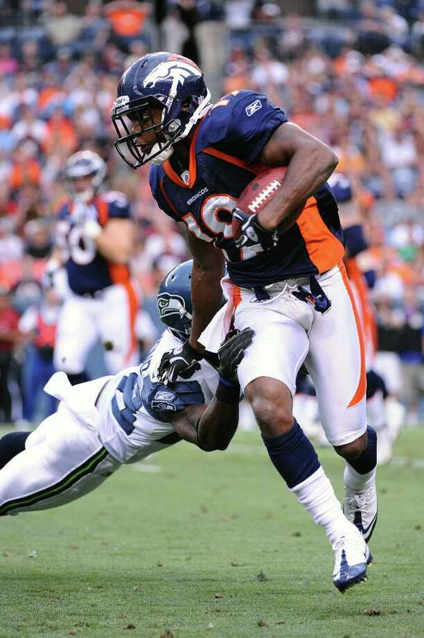 DENVER, CO - AUGUST 27: Eddie Royal #19 of the Denver Broncos runs after catching a pass during the preseason game against the Seattle Seahawks at Sports Authority Field at Mile High on August 27, 2011 in Denver, Colorado. Photo: Garrett Ellwood, Getty Images / 2011 Garrett Ellwood