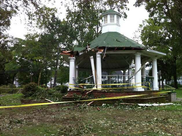 The gazebo on Paradise Green in Startford, Conn. was damaged in the storms that resulted from Hurricane Irene on sun. aug. 28, 2011. Photo: Chris McNamee / Connecticut Post