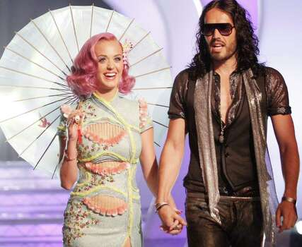 LOS ANGELES, CA - AUGUST 28:  Singer Katy Perry and actor Russell Brand arrive at the 2011 MTV Video Music Awards at Nokia Theatre L.A. LIVE on August 28, 2011 in Los Angeles, California. Photo: Christopher Polk, Getty Images / 2011 Getty Images