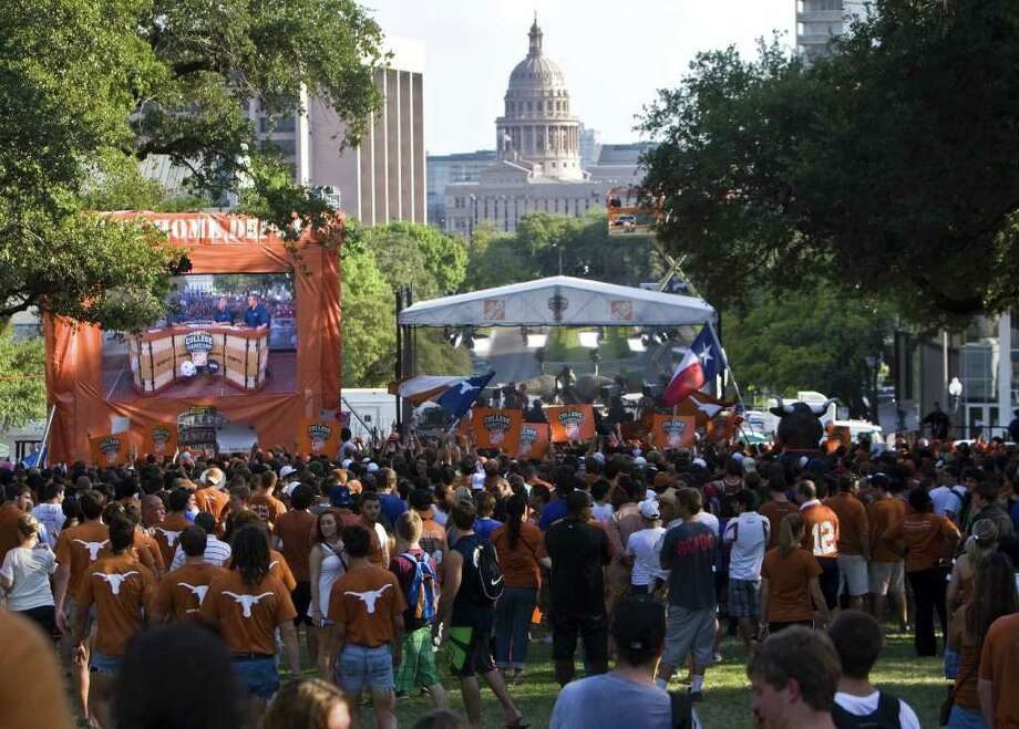 Longhorns fans gathered on the UT campus at Austin on Friday to celebrate the Longhorn Network launch. Photo: Ricardo B. Brazziell, Associated Press / Austin American-Statesman
