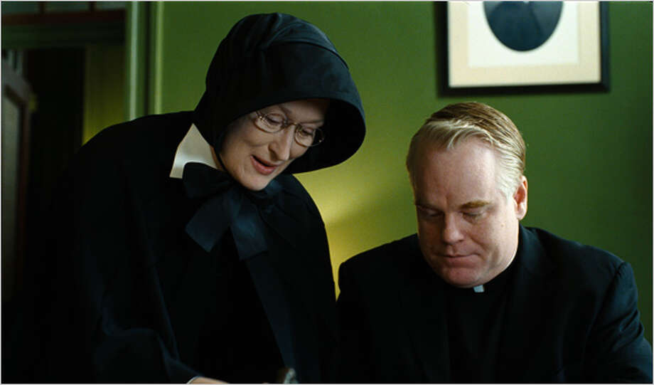 "Meryl Streep and Philip Seymour Hoffman star in ""Doubt."""
