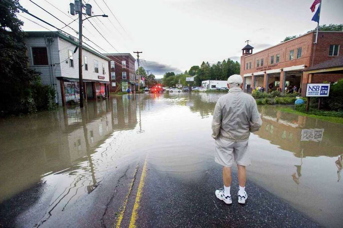 North Main Street in Waterbury, Vt., is under water in the wake of tropical storm Irene on Monday,.