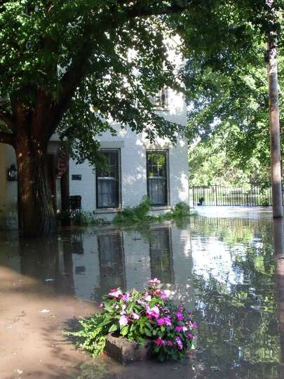 Flooded homes in Schenectady's Stockade. (James M. Odato/Times Union)
