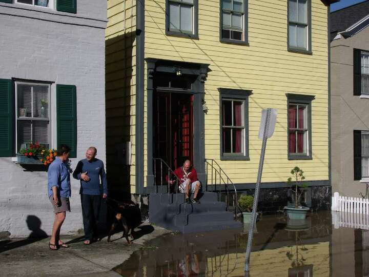 Flooded homes in Schenectady's Stockade on Monday, Aug. 29, 2011. (James M. Odato/Times Union)