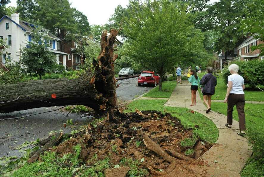 Residents walk past a tree uprooted by Hurricane Irene on Yuma Street August 28, 2011 in Washington,