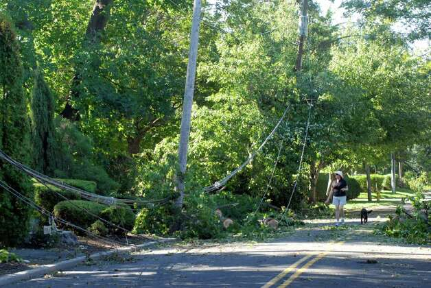 "Sally Russell walks her dog ""Jolee"" past downed wires on Ocean Drive West in Stamford, Conn. on Monday August 29, 2011 after tropical storm Irene. Photo: Dru Nadler / Stamford Advocate Freelance"