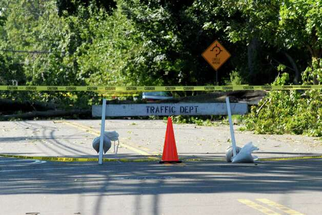 A section of Shippan Ave in Stamford, Conn. is closed on Monday August 29, 2011 after tropical storm Irene. Photo: Dru Nadler / Stamford Advocate Freelance