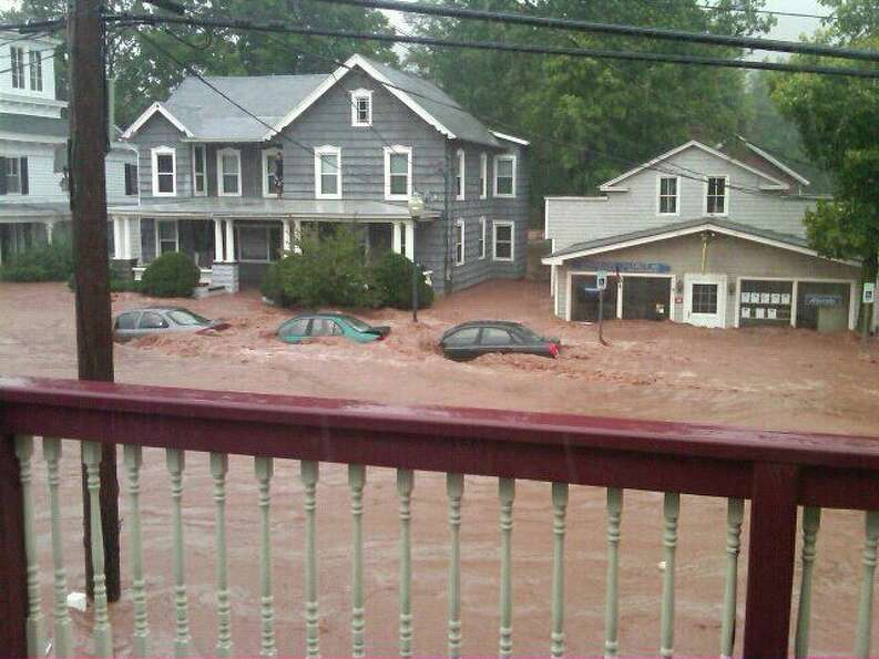 Cars underwater on Main Street in Windham. (Jason)
