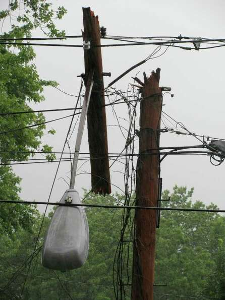 Broken utility pole on Woodlawn Avenue in Albany. (Gregory Bell)