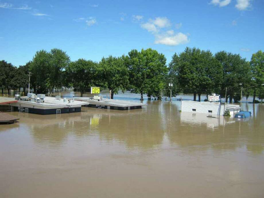 Jumpin' Jack's Drive-In, a riverside eatery that draws thousands of customers each summer, is submerged by the Mohawk River on Monday, Aug. 28, 2011. (LAUREN STANFORTH / TIMES UNION)