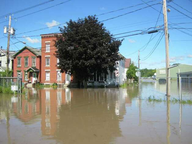 Flooding in the Stockade of Schenectady. (Lauren Stanforth/Times Union)