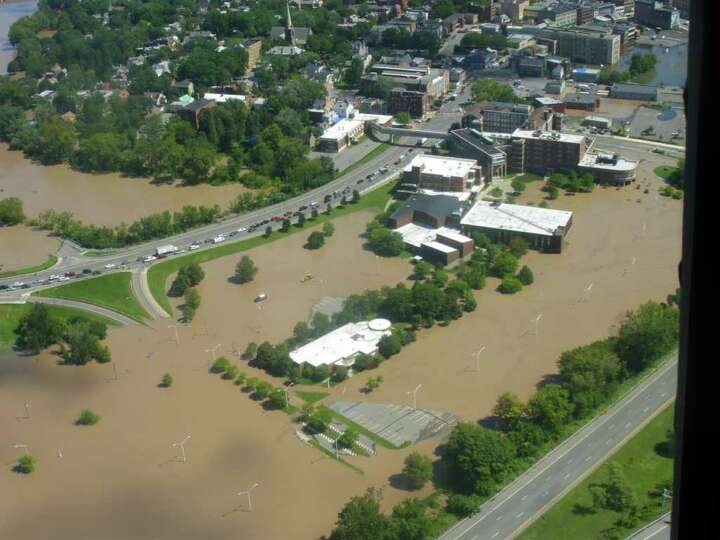 Schenectady Community College is surrounded by the Mohawk River in Schenectady on Aug. 29, 2011. (Ji