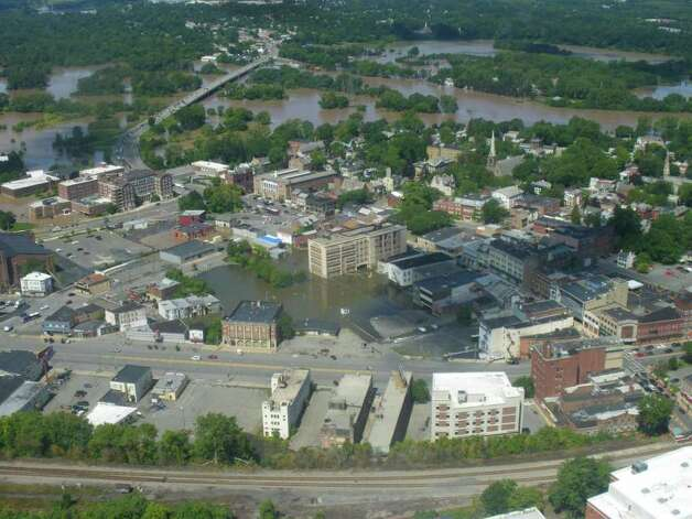 Downtown Schenectady is swamped by the Mohawk River on Aug. 29, 2011. (Jimmy Vielkind/Times Union)