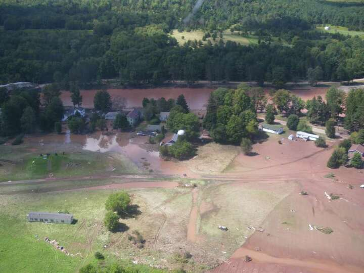 The Mohawk River swamped the village of Prattsville, Greene County, shown on Aug. 29, 2011. (Jimmy V