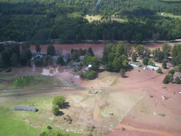 The Mohawk River swamped the village of Prattsville, Greene County, shown on Aug. 29, 2011. (Jimmy Vielkind/Times Union)