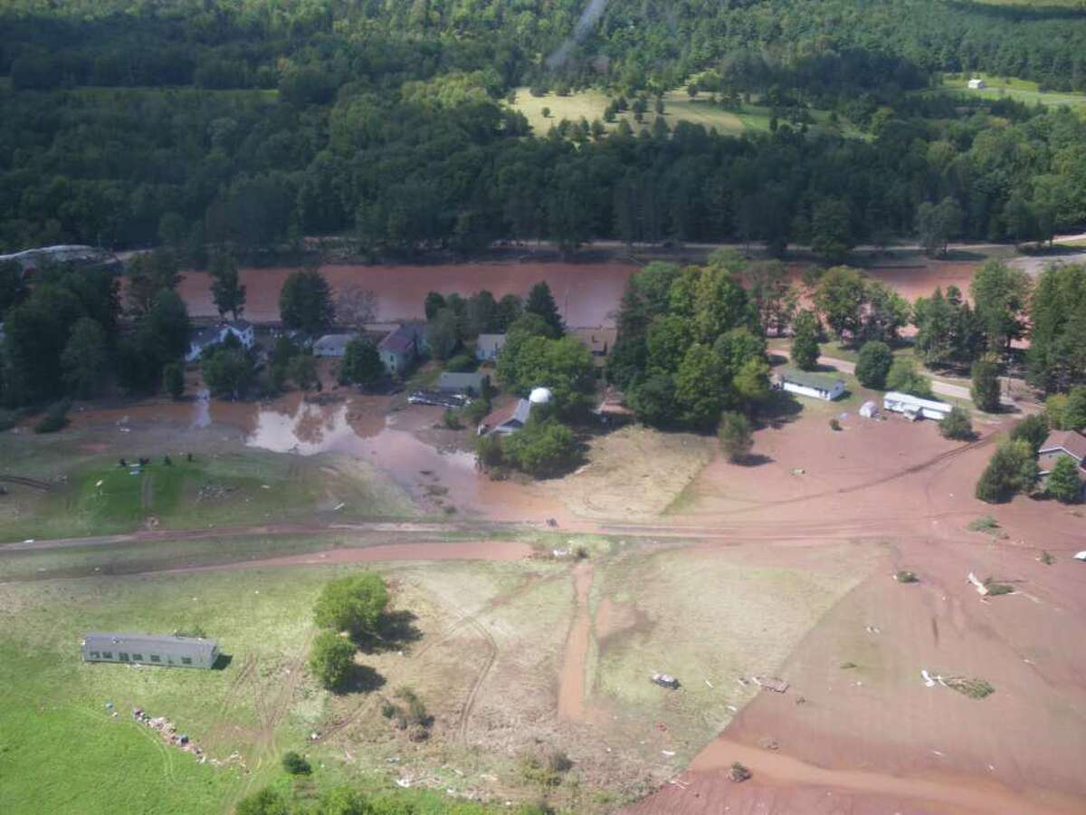 The fllod waters swamped the village of Prattsville, Greene County, shown on Aug. 29, 2011. (Jimmy Vielkind/Times Union)